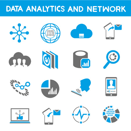 information analysis: data analytic icons, blue theme Illustration
