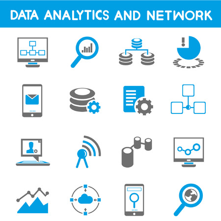 data center: data analytic icons, blue theme Illustration