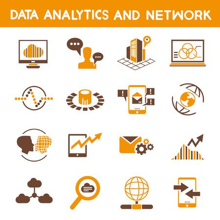 adatelemzési ikonok, narancs téma Illusztráció