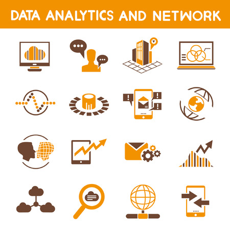 big data: data analytic icons, orange theme