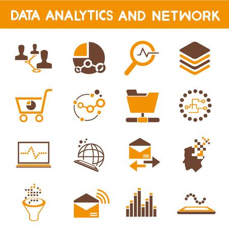 analytic: data analytic icons, orange theme