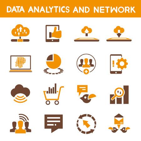 transmitting: data analytic icons, orange theme