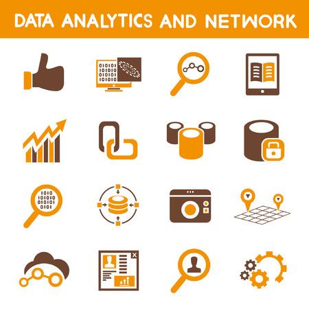 analytical: data analytic icons, orange theme