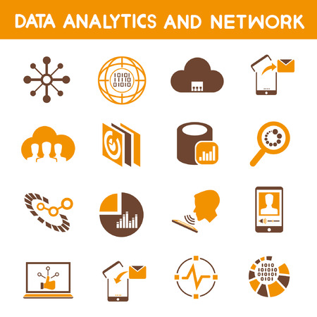 analytic: data analytic icons, orange theme