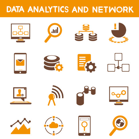 data analytic icons, orange theme Vector