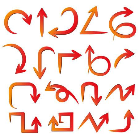 curve arrow: red arrows Illustration
