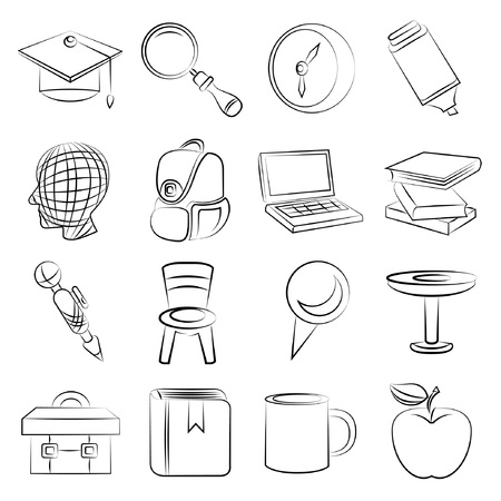 sketched education icons Vector