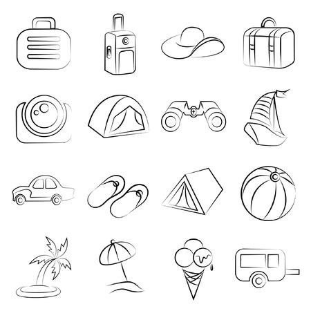 dibujos lineales: iconos de vacaciones esbozadas