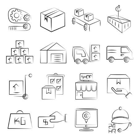 sketched icons: iconos industriales esbozadas