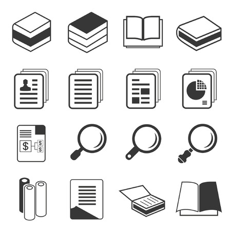 book and document icons Vector