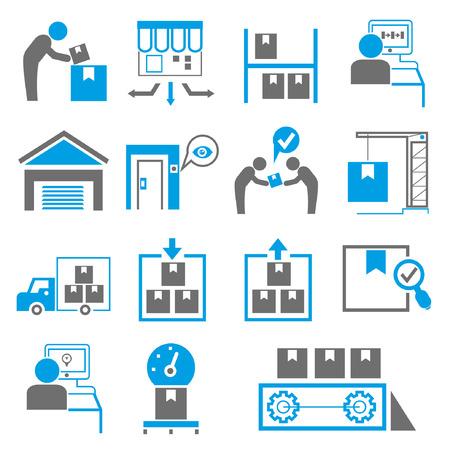 scheepvaart iconen, productie pictogrammen, blauw thema Stock Illustratie