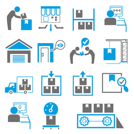development process: shipping icons, manufacturing icons, blue theme Illustration