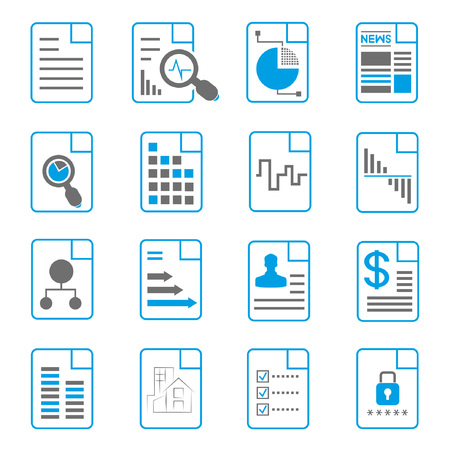 document icons, file icons, blue theme Vector