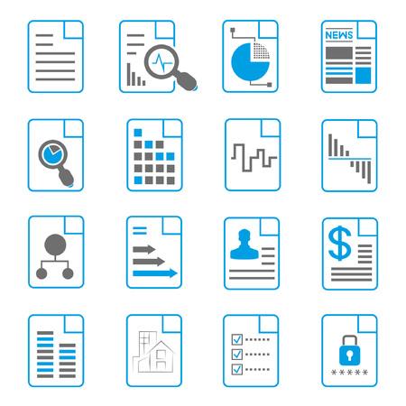 document icons, file icons, blue theme Vektoros illusztráció