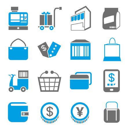 shopping icons, blue theme Vector