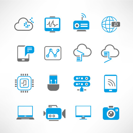 cloud storage: network, communication icons, blue theme