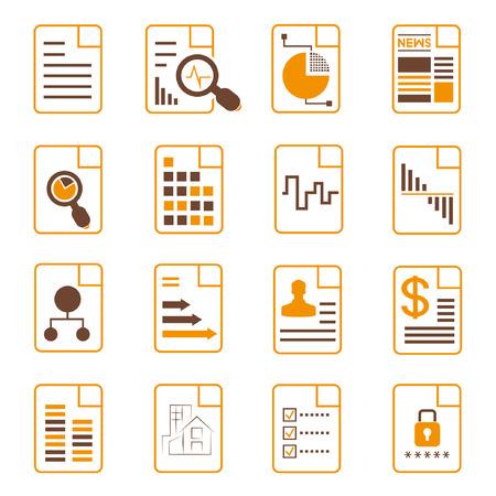 document icons, file icons, orange theme