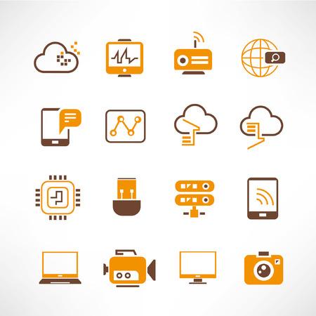 wifi sign: network, communication icons, orange theme