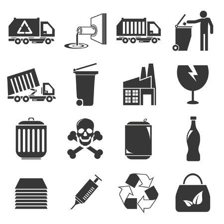 fragile industry: waste management icons