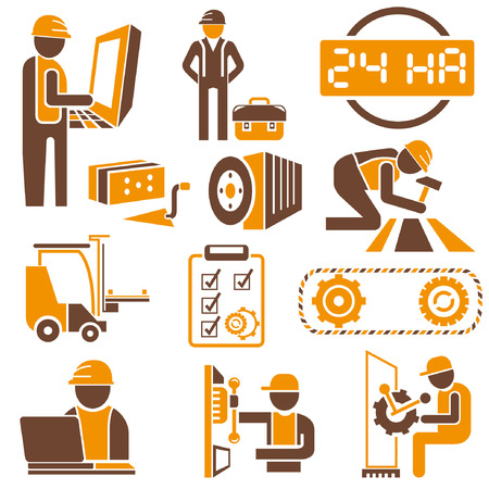 industrial management icons, engineering icons, orange theme icons