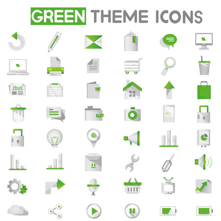 web apps, internet icons, green icons Vector