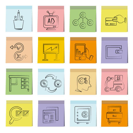 office icons on post paper theme Vector