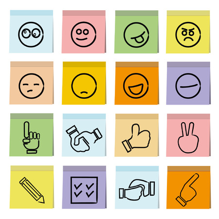 emoticons and hand sign on post paper theme