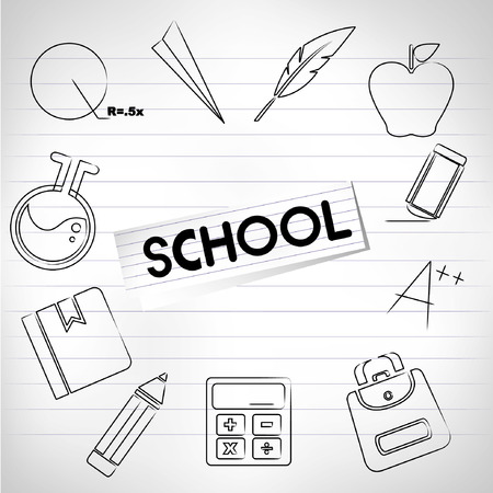 exercise book: sketched school concept in drawing paper, education background