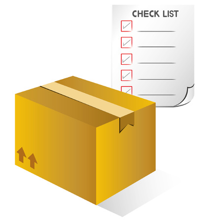carton box and check list, shipping box, stock check concept Stock Vector - 24057500