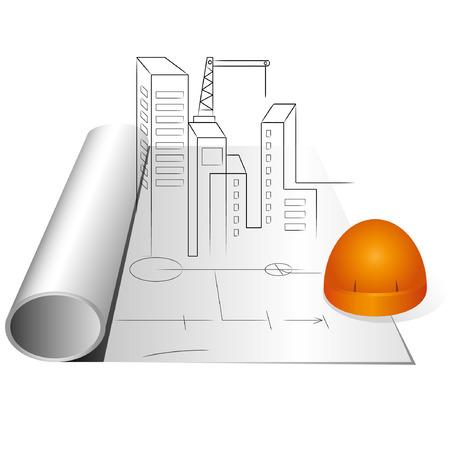 construction management: disegno di ingegneria e casco, progetto di costruzione Vettoriali