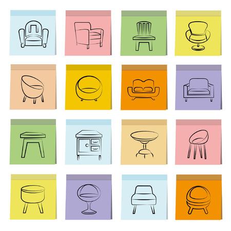 sketched icons: iconos silla boceto fijan, papel de nota