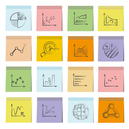 in fact: sketched graph icons set, note paper