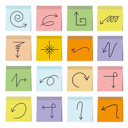indexes: sketched arrow icons set, note paper Illustration