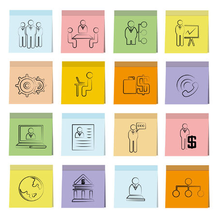 business management icons set, note paper Vector
