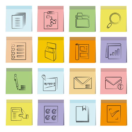 treatise: document icons set, note paper Illustration