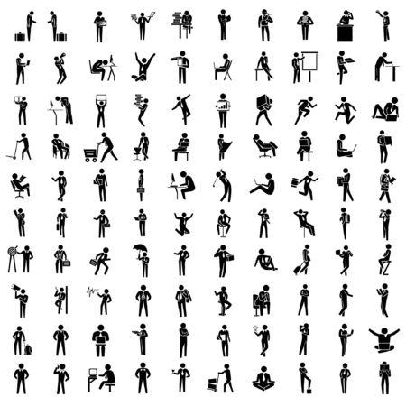 mensen silhouet bedrijfszetels, zakenman in verschillende acteren, 100 acties instellen, arbeider set, kantoor mensen stellen Vector Illustratie