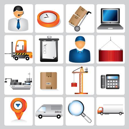 iconos logísticos, iconos de envío, gestión de la cadena de suministro