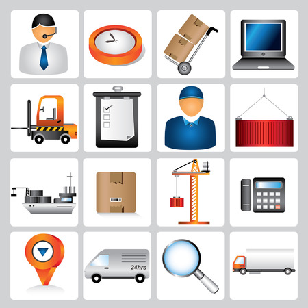 logistic icons, shipping icons, supply chain management Vector