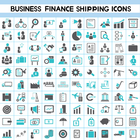 stock market chart: business icons, human resource, finance, shipping, logistic icon set, 100 icons, blue color theme