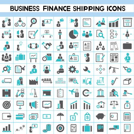 icon set: pictogrammen, human resource, finance, scheepvaart, logistiek icon set, 100 iconen, blauwe kleurenthema Stock Illustratie