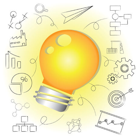 construction plans: idea, bulb idea background Illustration