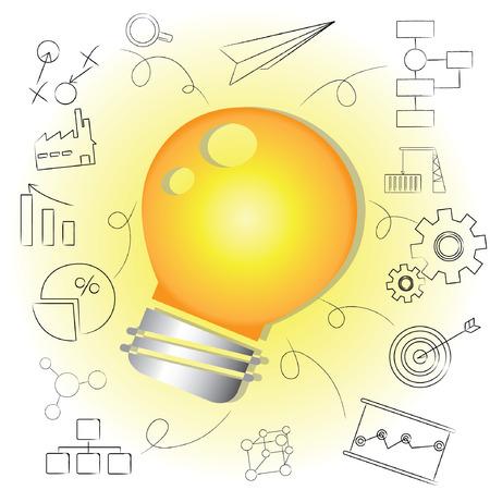 idea, bulb idea background Illustration