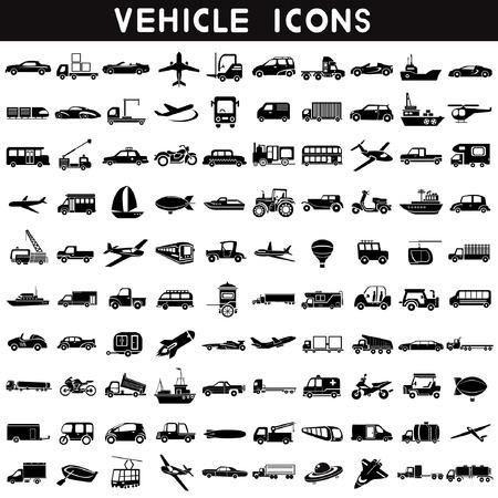 icônes de véhicules, icônes de transport, ensemble de voiture, jeu de bateau, avion ensemble, icône logistique, 100 icônes