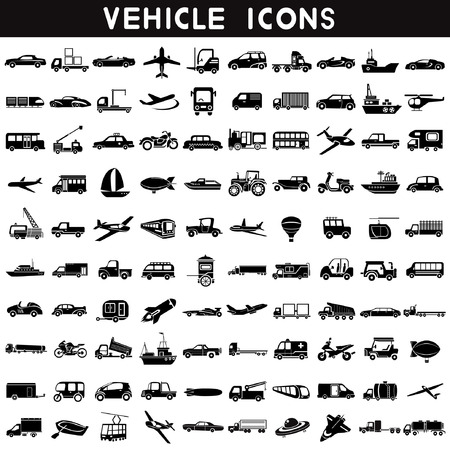 bogie: vehicle icons, transportation icons set, car set, ship set, plane set, logistic icon, 100 icons Illustration