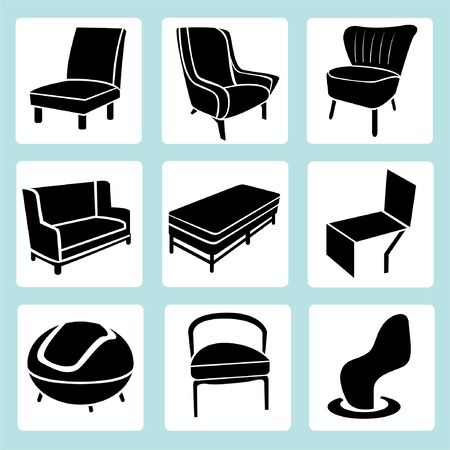 chair set, interior decoration set, furniture icons Vector