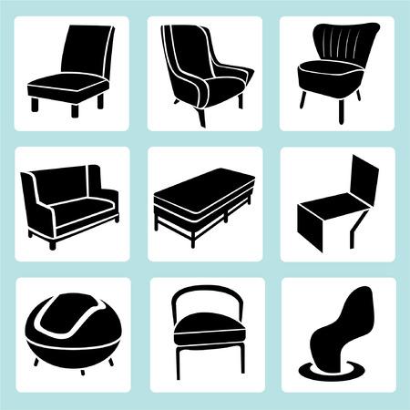 indoor garden: chair set, interior decoration set, furniture icons