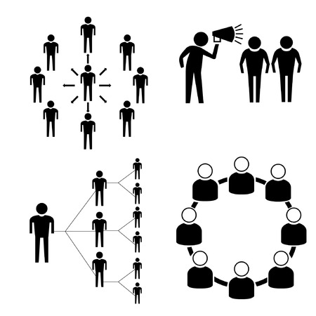 social media concept: connecting people set, social media concept Illustration