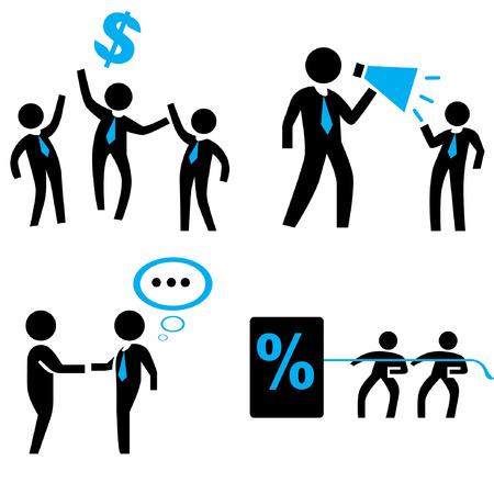 human resource affairs: office worker set, organization management concept, business people set Illustration