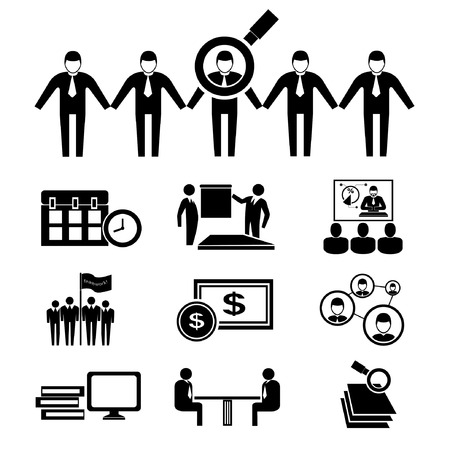human resource icons, business management icons Vector