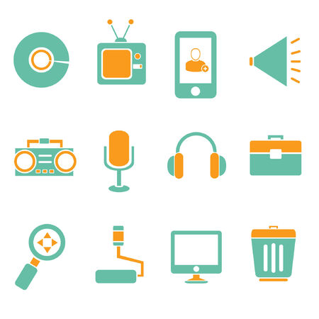 electronic components: electronics device icons Illustration